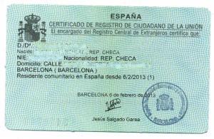 NIE card